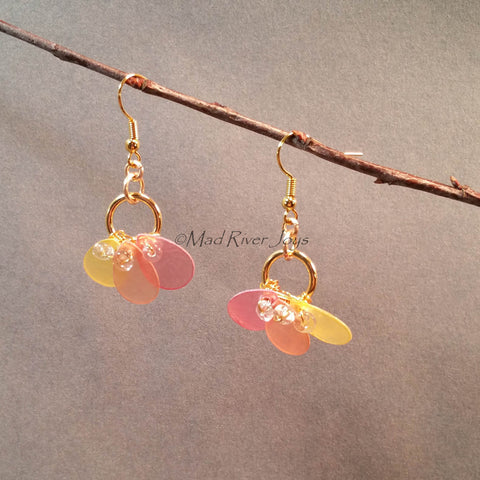 Earrings--Capiz Fan--Orange/Gold