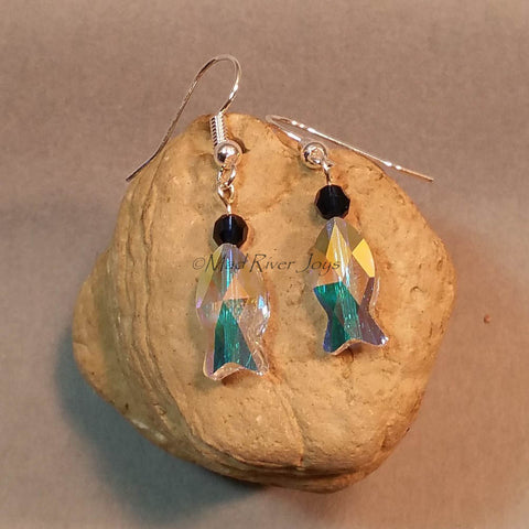 Earrings--Sparkling Blue Fish