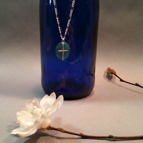 Necklace--Capiz Cross--Teal/Silver