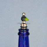 Bottle Stopper--Small Green Lampwork Frog on Black Glass Bead