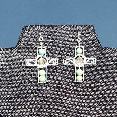 Earrings--Silver Cross--Yellow Crystal/Green Raku