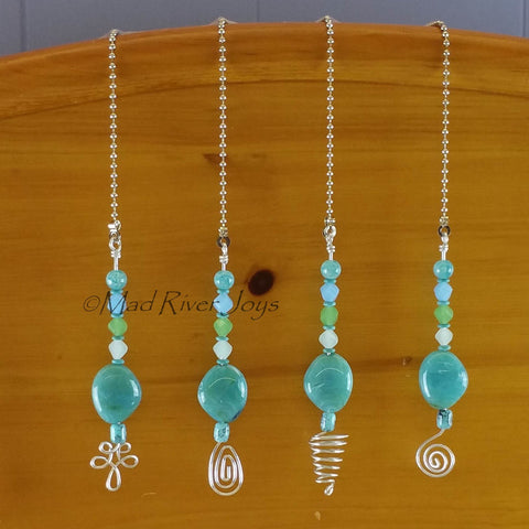 Pulls--Turquoise Glass and Acrylic Beaded Ceiling Fan/Light Pull