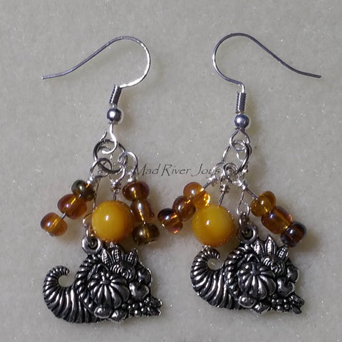 Earrings--Cornucopia--Small Silver