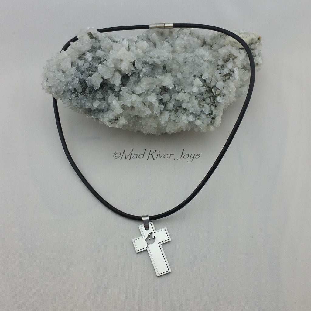 Necklace--Stainless Dove Cross