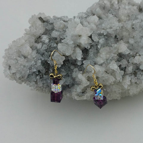 Earrings--Crystal Gifts--Purple on Gold