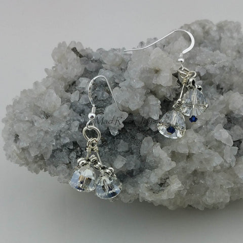 Earrings--Crystal Silver Bells