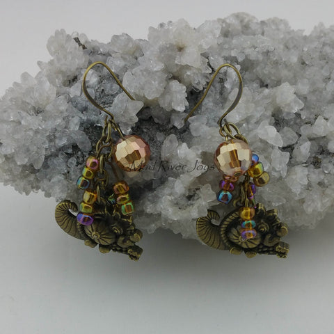 Earrings--Cornucopia--Large Brass