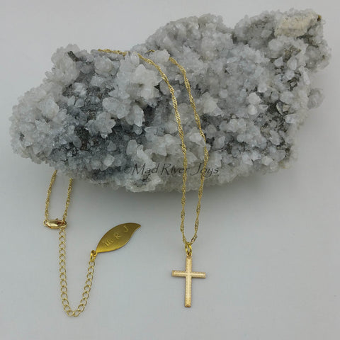 Necklace--Cross--Textured Gold