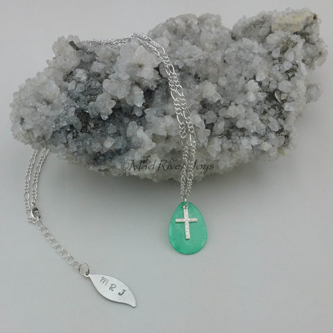 Necklace--Capiz Cross--Green/Silver