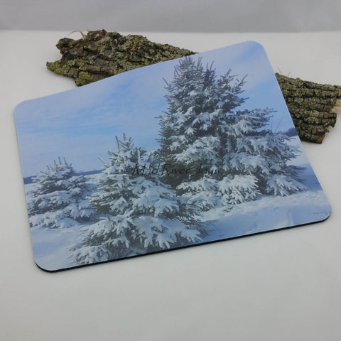 Mouse Mat--Photo Print--Foam--Spruce In Snow