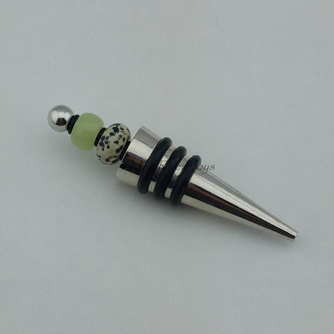 Bottle Stopper--New Jade and Dalmatian Jasper