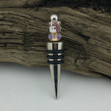 Bottle Stopper--Pink Butterfly Murano Glass Bead