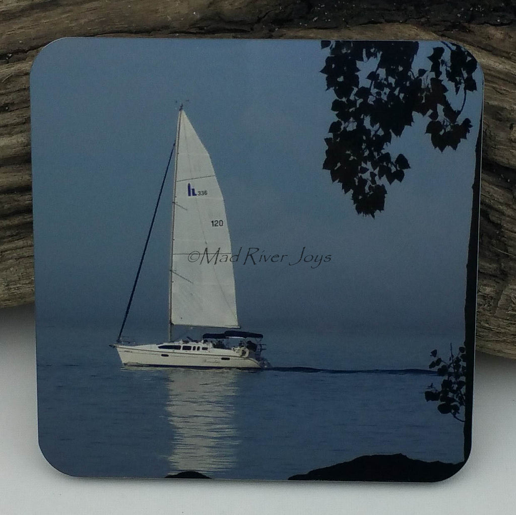 Coaster--Photo Print--Cork--Sailing By Marblehead