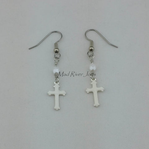 Earrings--Enamel Cross Dangles
