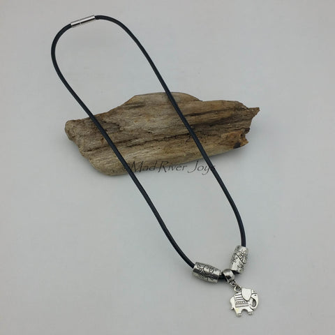 Necklace--Elephant on Leather