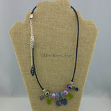Necklace--Blue & Lavender Leaves