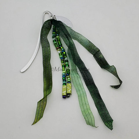 Bookmark--Hook--Green with Hand-dyed Fairy Ribbon