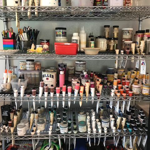 Marigny Goodyear Art Acrylic paint organized