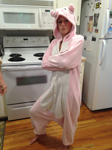 Pig Onsie Gangster in my Kitchen
