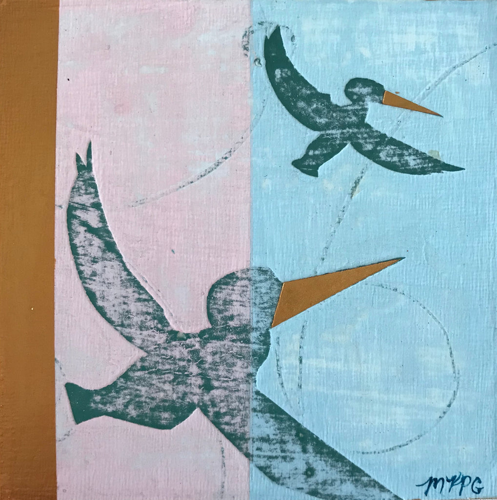 Marigny Goodyear Art Mixed Media Abstract Visual Meditation Aid Painting Pelicans