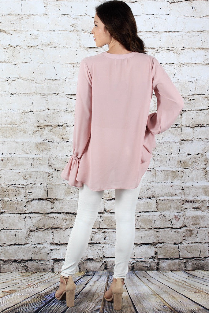 V Neck Tunic w/ Bell Sleeve