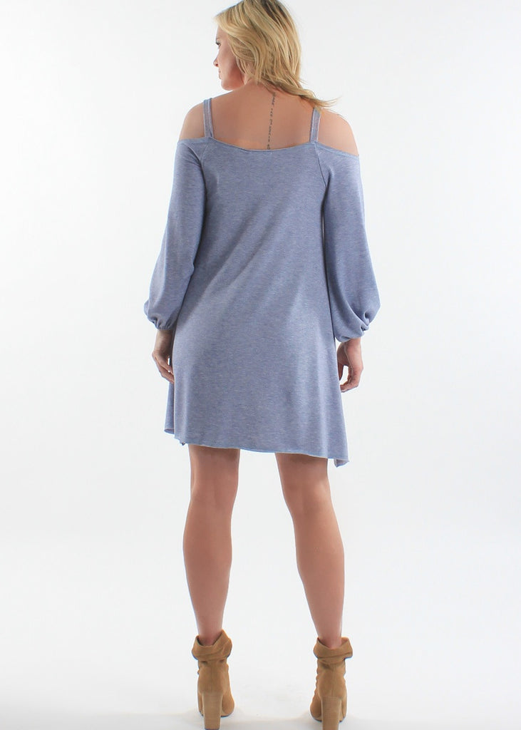COLD SHOULDER RAW EDGE DRESS - Basically Me