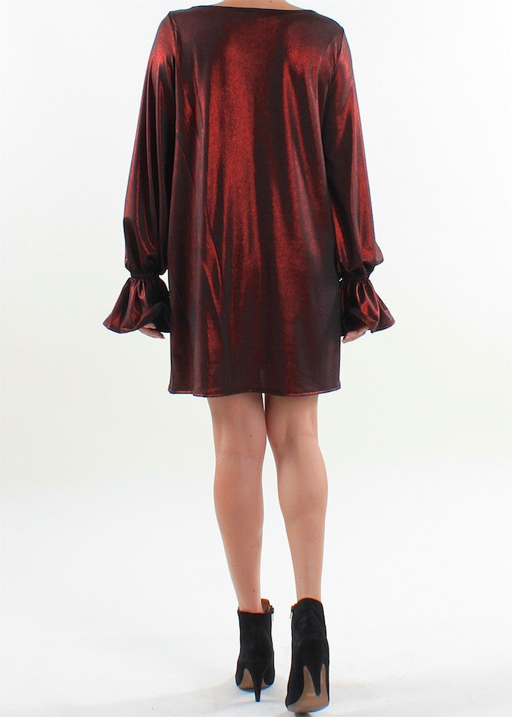 Metallic Flare Sleeve Shift Dress - Basically Me