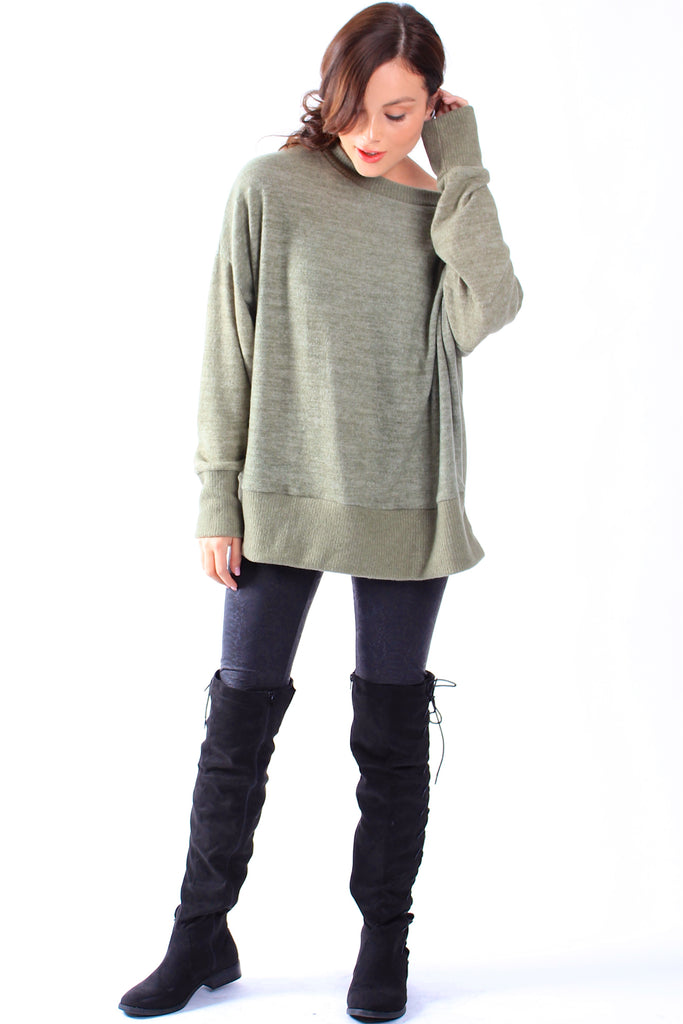 Olive Oversized Fleece Top
