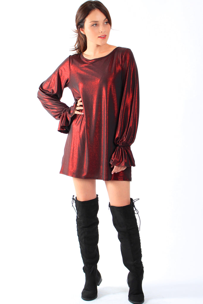 Metallic Flare Sleeve Shift Dress