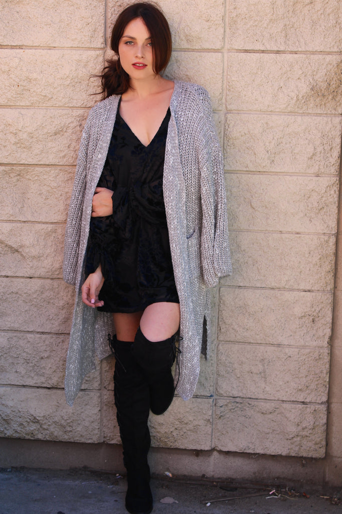 Grey Cardigan Sweater w/Pockets