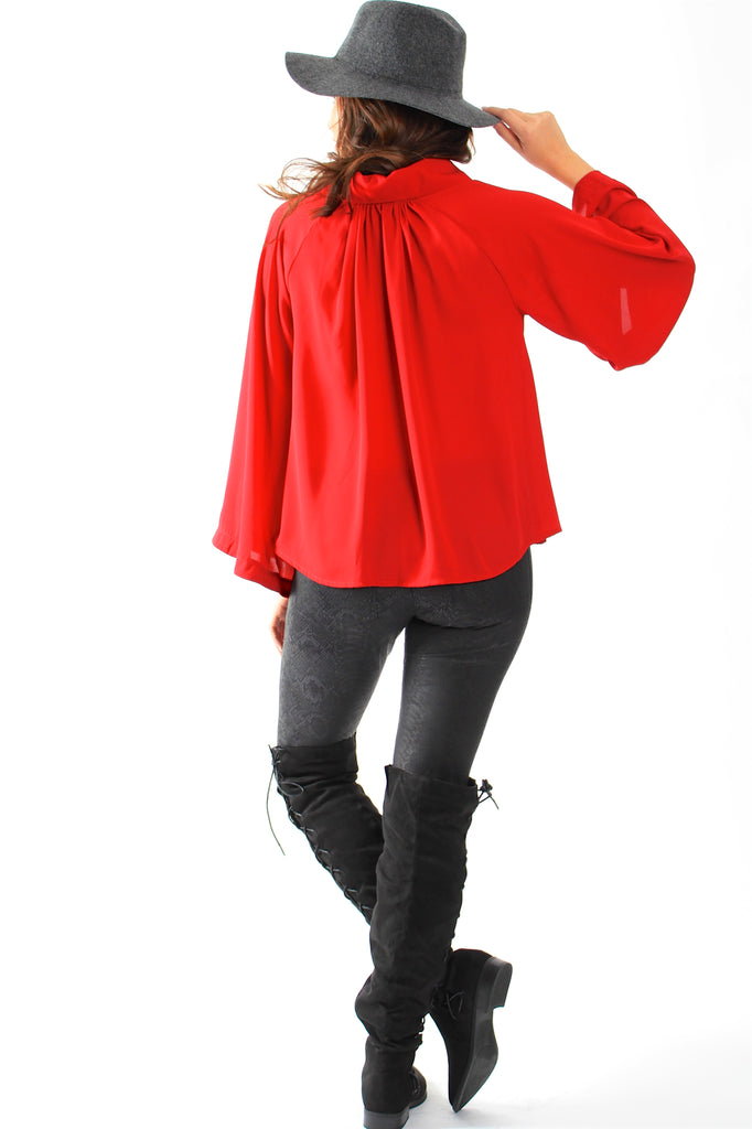 Collared Flair Sleeve Top