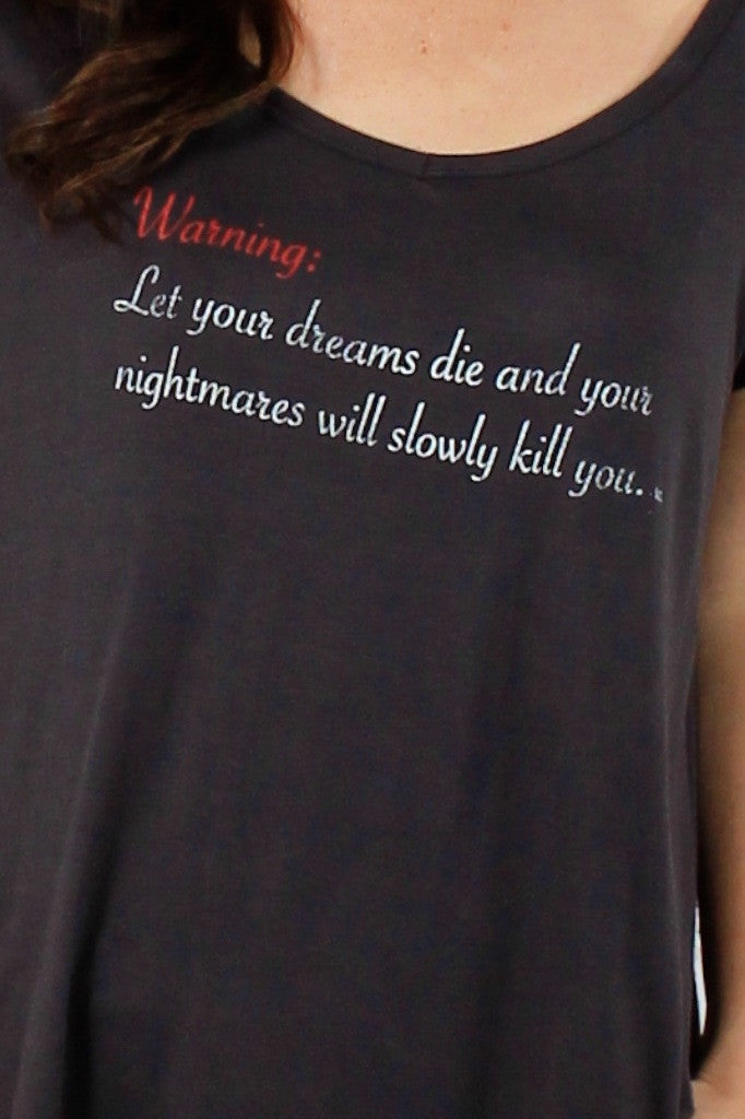 Round Neck Warning Tee