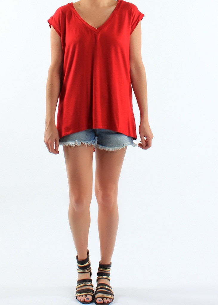Criss Cross Open Back Basic Tee