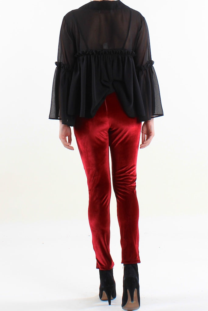 Chiffon Collared Trumpet Sleeve Top