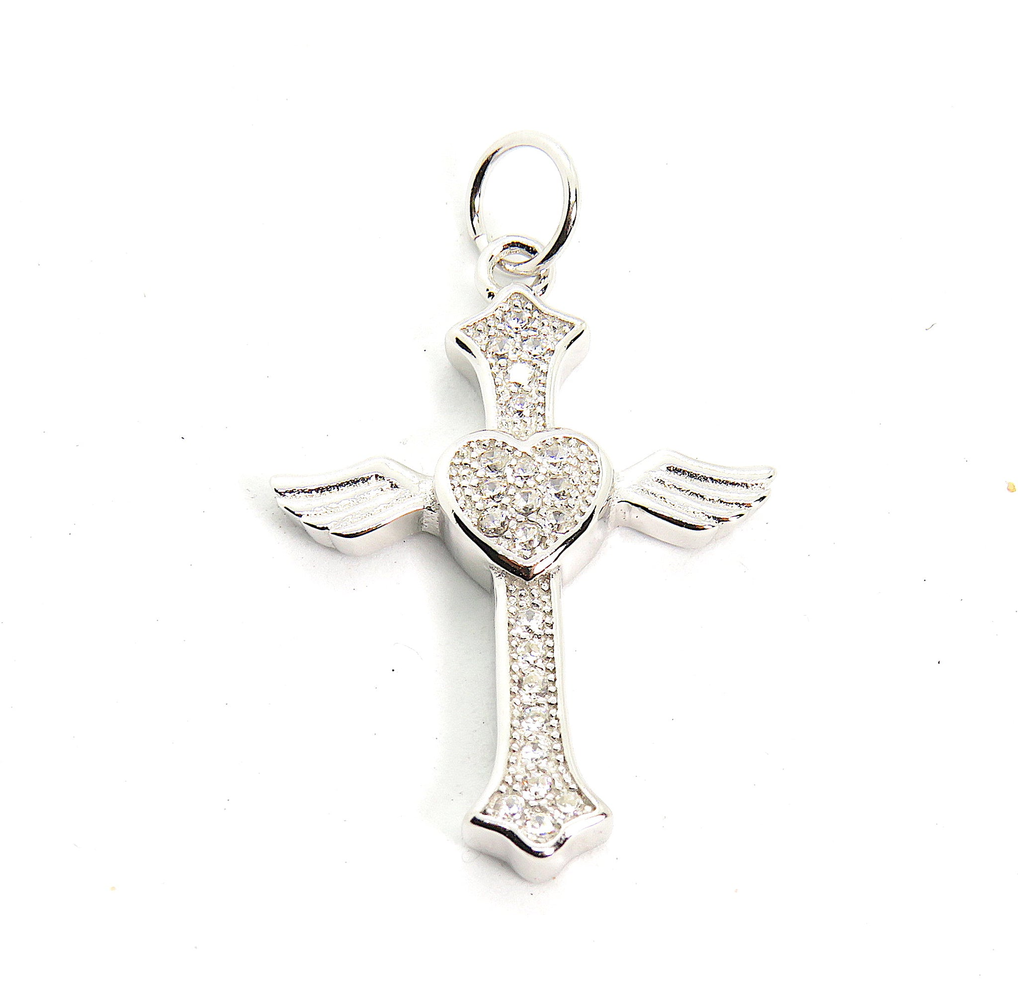 Heart on cross charm