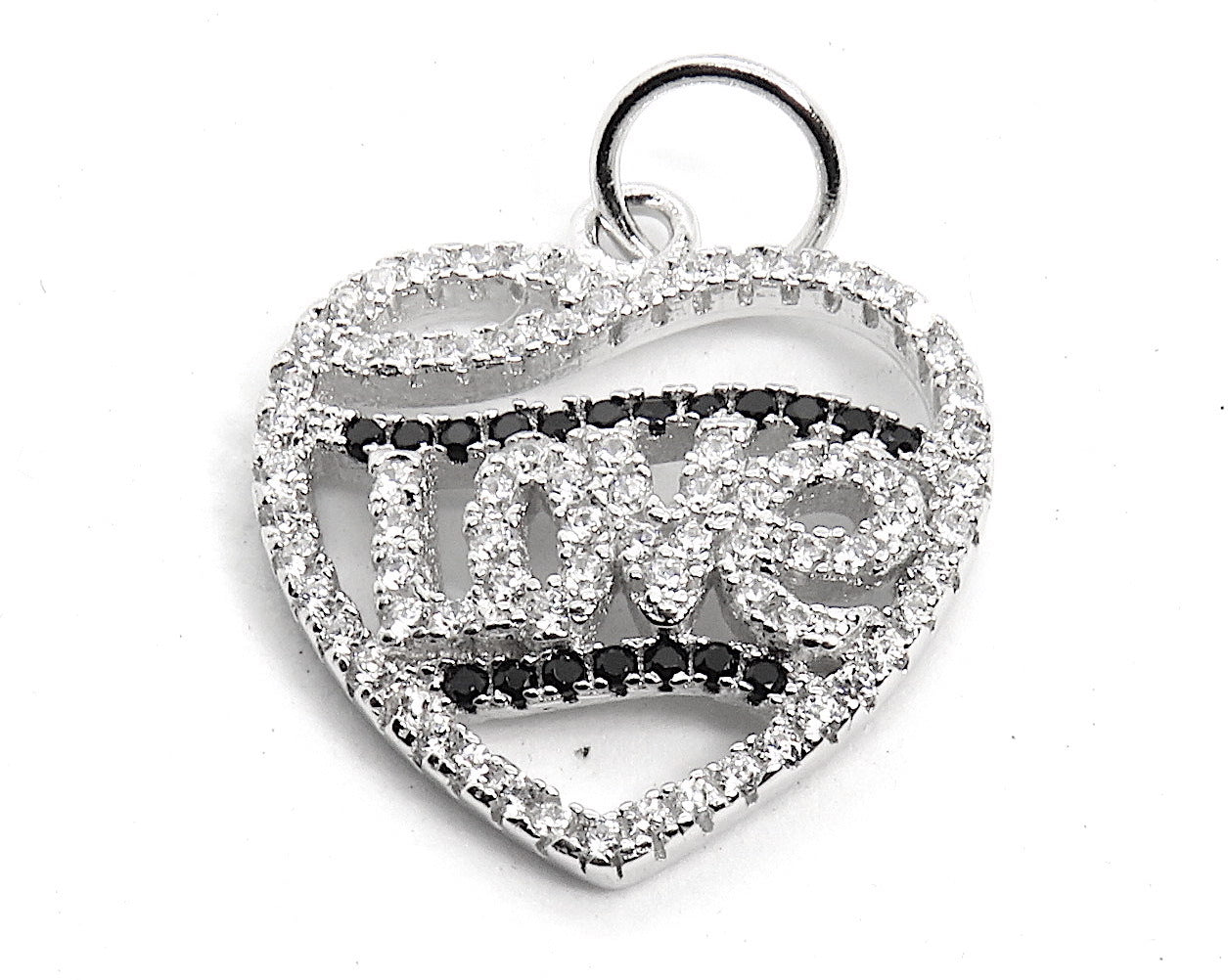 Love words in heart charm