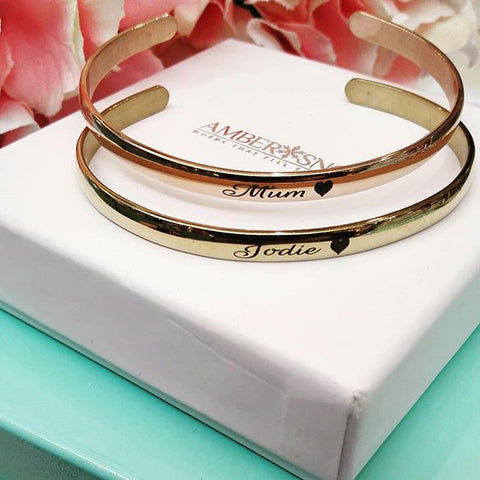 Cuff bangle - Rose Gold - FREE Engraving