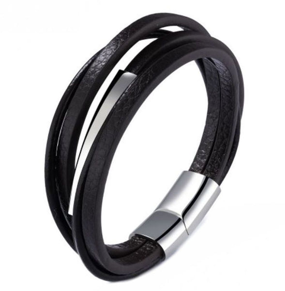 5 strand leather and stainless steel mens bracelet - FREE engraving!