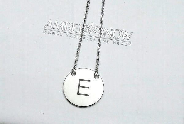 Initial Disc Necklace .925 silver- FREE Engraving