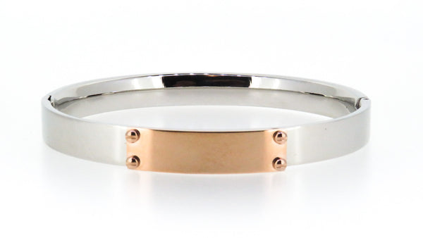 Stainless steel bangle with Rose Gold ID plate - ON SALE!