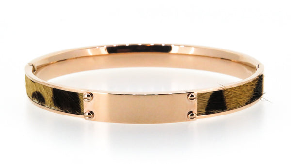 Stainless steel bangle - Rose Gold with Rose ID plate - ON SALE!