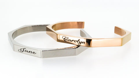 Gold hex bangle - engrave up to 7 names or words... FREE!