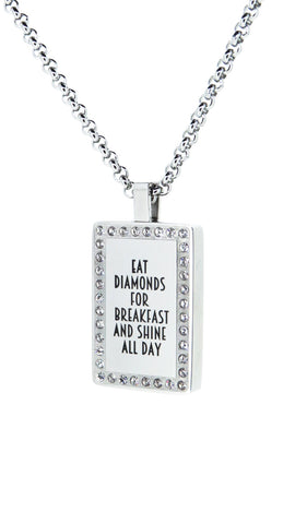 Diamonte rectangular pendant - FREE Engraving
