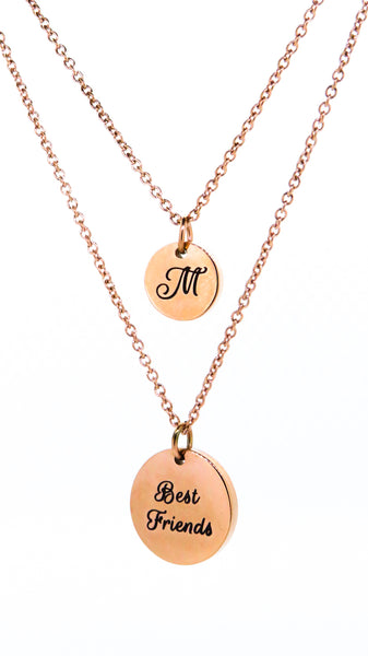 Double round pendant necklace - rose gold