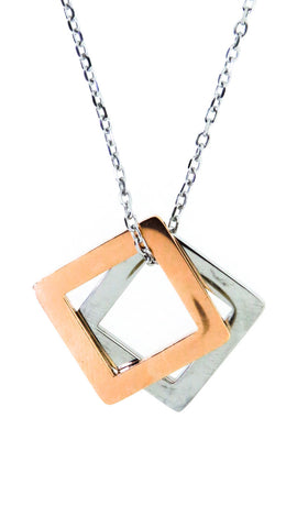 Free Engraving* - Double Square pendant - Silver & Rose Gold