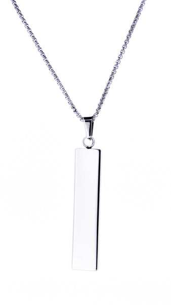 Free Engraving - Horizontal bar with diamonte on chain
