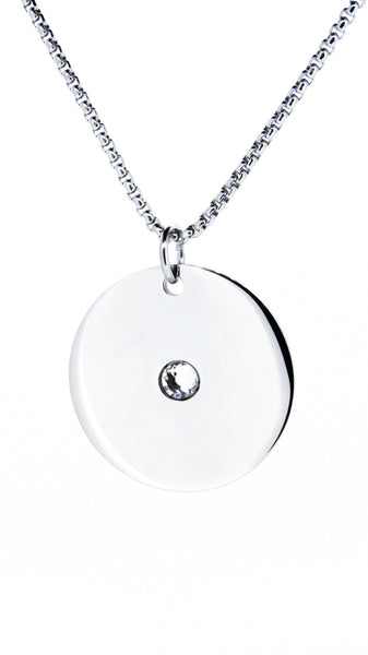 12mm stainless steel pendant with cubic zirconia