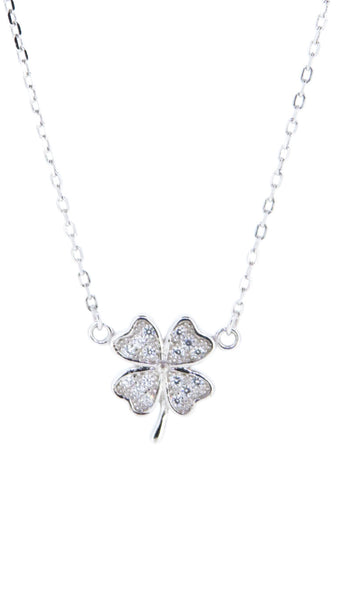 Sterling Silver Necklace - Lady Luck - 4 Leaf Clover - Silver
