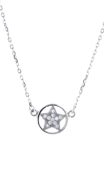 Sterling Silver Necklace - Across the Miles - Star in a Circle - Silver