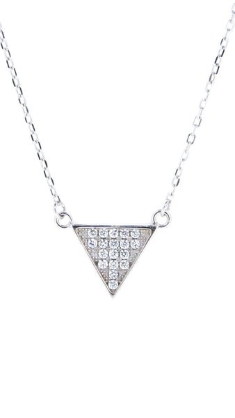 Sterling Silver Necklace - Balance - Triangle necklace - Silver